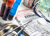 Evidence bag, Police scientific laboratory, conceptual image, horizontal composition