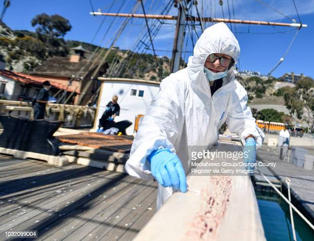 Evidence collector Gabby Finkelstein gets blood evidence aboard the Pilgrim tall ship as she joins fellow members of the Thurston Middle School...