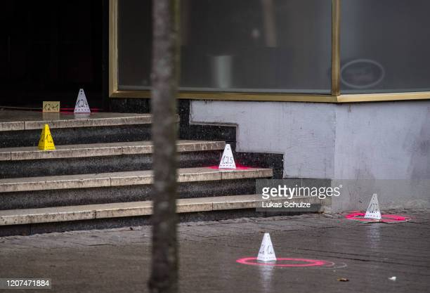Evidence is marked out at the scene outside the Midnight hookah bar one of two bars that were targeted by a gunman last night on February 20 2020 in...