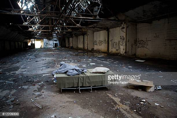 Evidence of homeless people living or sleeping in the abandoned factories The decadeslong decline of the US automobile industry is acutely reflected...