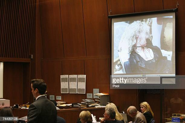Evidence photo of actress Lana Clarkson is displayed during at Phil Spector's musder trial at Los Angeles Superior Court on June 6, 2007 in Los...