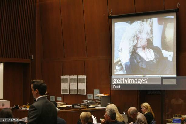 Evidence photo of actress Lana Clarkson is displayed during Phil Spector's murder trial at Los Angeles Superior Court on June 6 2007 in Los Angeles...