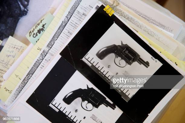 Evidence photographs of the gun used in the assassination plot to kill Robert F Kennedy are displayed at the home of Paul Schrade on Wednesday May 16...