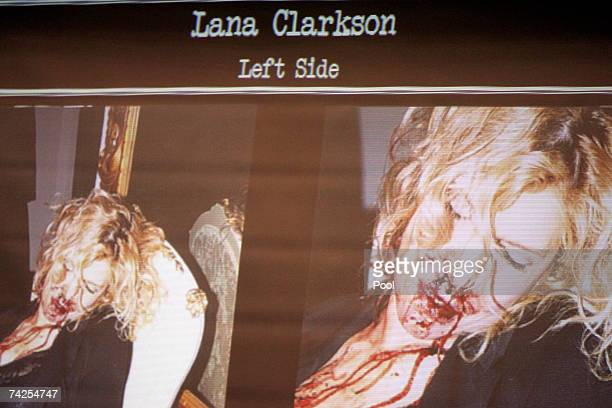 Evidence photos showing the body of actress Lana Clarkson are projected inside the courtroom during the murder trial of music producer Phil Spector...