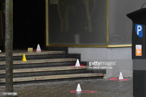 Evidences are surrounded by red circles on the floor in the area of the bar that was targeted in a shooting at the Heumarkt in the centre of Hanau...