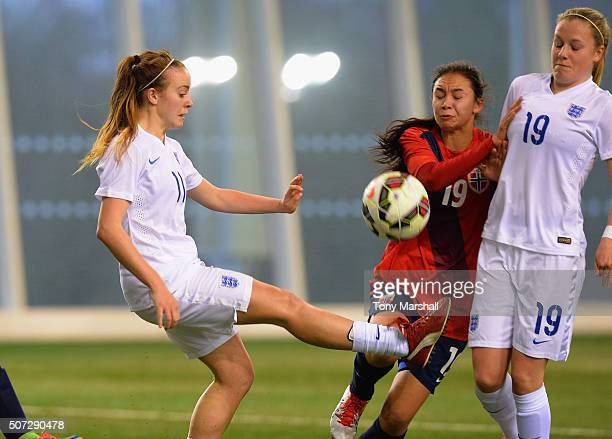 Evie Clarke of England during the U19 Women's Friendly match between England U19 Women and Norway U19 Women at St Georges Park on January 26, 2016 in...