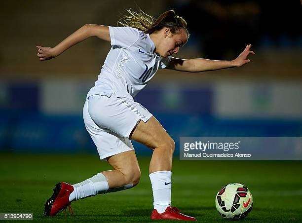 Evie Clarke of England in action during the women's U19 international friendly match between England U19 and USA U19 at La Manga Club on March 5,...