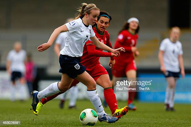 Evie Clarke of England in action with Ines Silva of Portugal during the UEFA Womens U17 Championship Finals match between England U17 and Portugal...