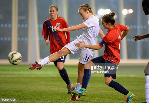 Evie Clarke of England takes a shot at goal during the U19 Women's Friendly match between England U19 Women and Norway U19 Women at St Georges Park...