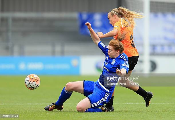 Evie Clarke of London Bees and Aoife Mannion of Birmingham City Ladies compete for the ball during the Continental Cup Semi Final match between...