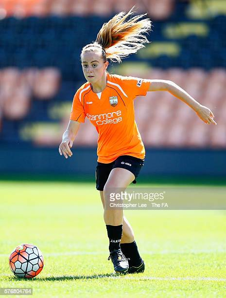 Evie Clarke of London bees in action during the FA WSL 2 match between London Bees and Sheffield FC Ladies at The Hive on July 17, 2016 in Barnet,...