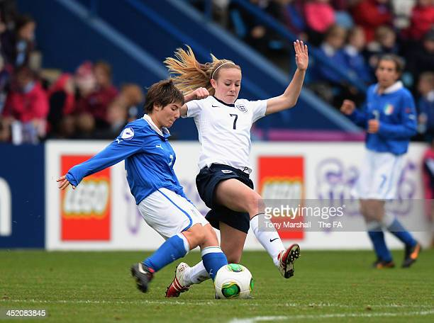 Evie Clarke tackles Marta Vergani of Italy during the UEFA Womens U17 Championship Finals match between England and Italy at the AFC Telford New...