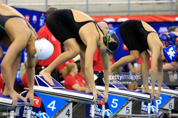 Evie Pfeifer at the start of the women's 200m IM final at the 2018 TYR Pro Series on July 8 2018 in Columbus Ohio