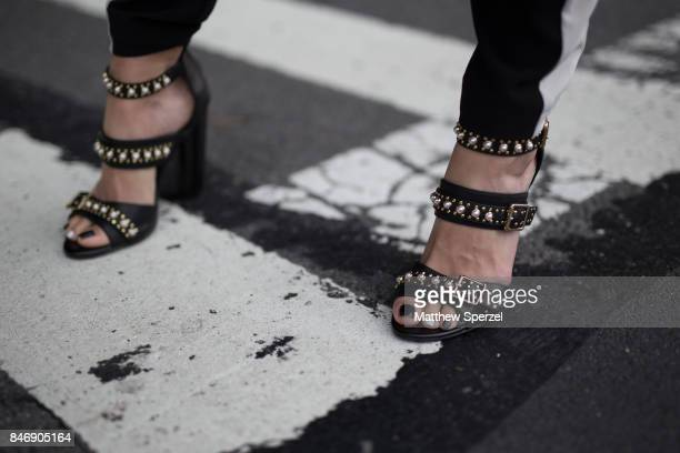 Evie Phillips is seen attending Marchesa during New York Fashion Week wearing Steve Madden Zara YSL Aimee Kestenberg on September 13 2017 in New York...