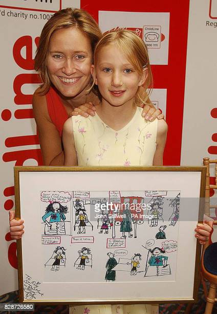 Evie Plant from Suffolk with BBC TV news presenter Sophie Raworth and her award winning cartoon which she entered in the Childline Cartoon Crazy...