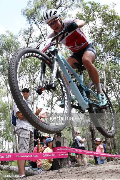 Evie Richards of England competes during the Women's Cross-country on day eight of the Gold Coast 2018 Commonwealth Games at Nerang Mountain Bike...