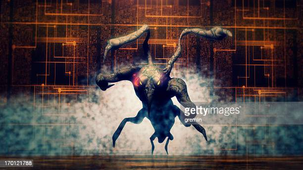 evil alien monster in attack - animals attacking stock pictures, royalty-free photos & images