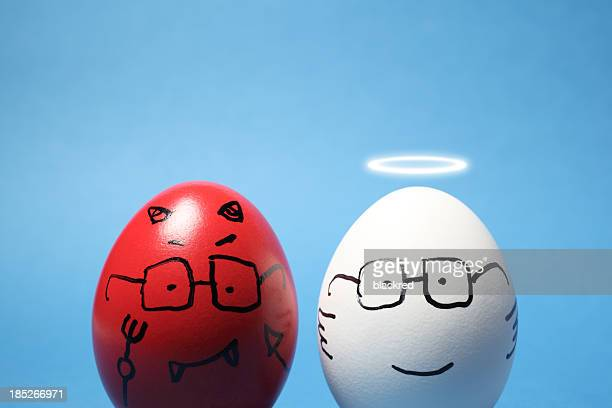 evil and angel eggs - hell stock pictures, royalty-free photos & images