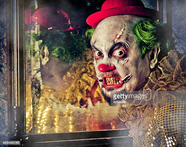 evil clown - zombie makeup stock photos and pictures