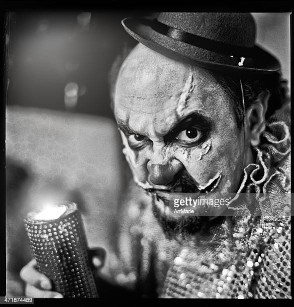 evil clown - zombie face stock photos and pictures