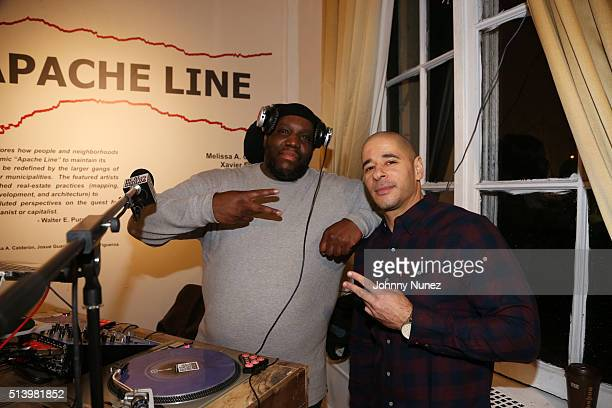 DJ Evil Dee and comedian Dino Vigo host the SuperFly Comedy Show at The Andrew Freedman Home on March 5 2016 in New York City