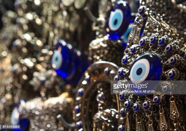 Evil eye amulet for sale in the grand bazaar Beyazit Istanbul Turkey on April 28 2014 in Istanbul Turkey