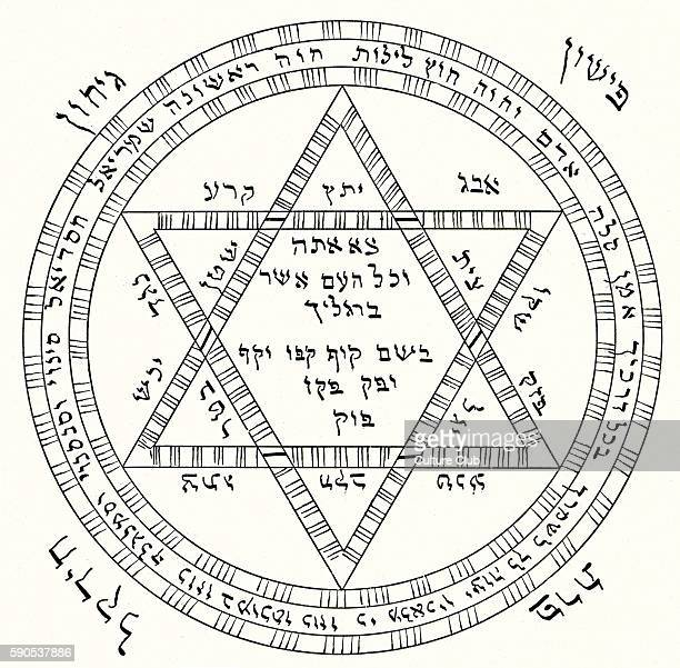 Evil Eye Hebrew amulet From the 'Sefer Raziel' a medieval Kabbalah grimoire Amulet worn by pregnant women as protection against witchcraft