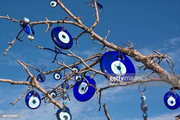 evil eye souvenirs, cappadocia, turkey - pendant stock pictures, royalty-free photos & images