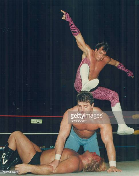 Evil in action Here it is The Bulldogs have Johnny Valentine down for the count but Valentine's partner Brutus Beefcake spoils it with a brutal stomp