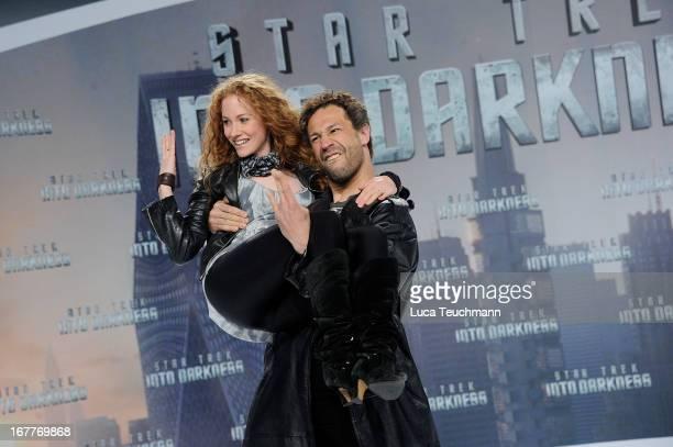 Evil Jard Hasselhoff and SinaValeska Jung attend the 'Star Trek Into Darkness' German Premiere at CineStar on April 29 2013 in Berlin Germany