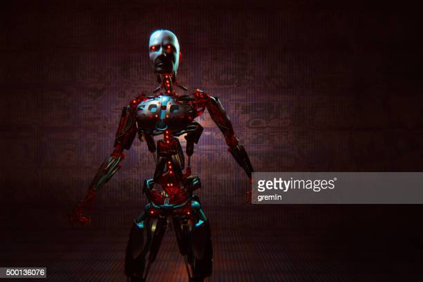 evil looking futuristic cyborg - evil stock photos and pictures