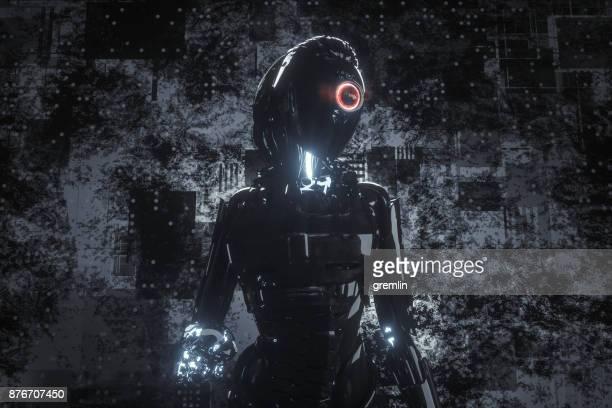 Evil looking futuristic cyborg