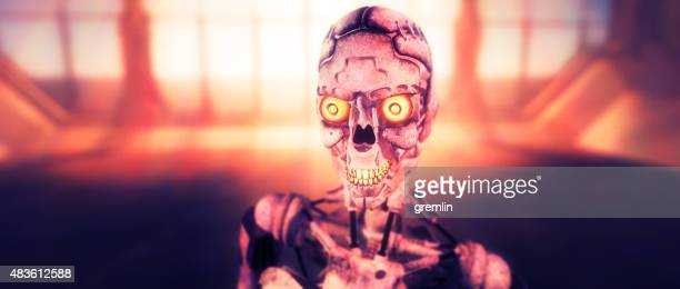 evil robot cyborg close-up - evil stock photos and pictures