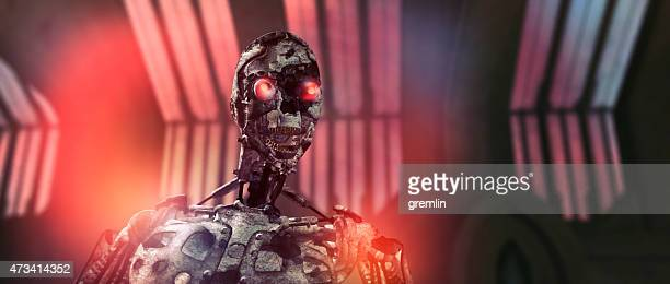 evil robot with glowing eyes - evil stock photos and pictures