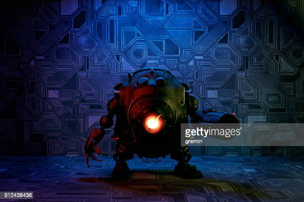 evil robot with glowing light - fictional character stock pictures, royalty-free photos & images