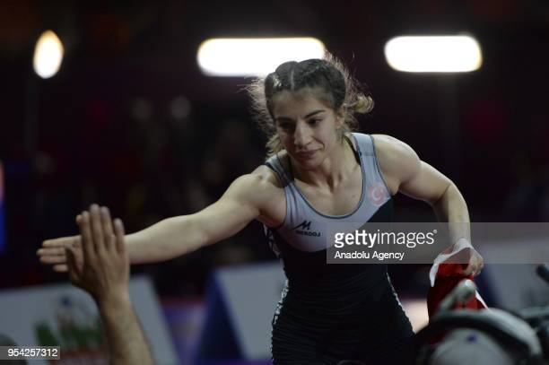 Evin Demirhan of Turkey celebrates after winning against Aintzane Gorria Goni of Spain in women's 50 kg category match within the 2018 European...