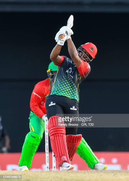 Evin Lewis of Saint Kitts & Nevis Patriots hits 6 during the 2021 Hero Caribbean Premier League Play-Off match 32 between Guyana Amazon Warriors and...
