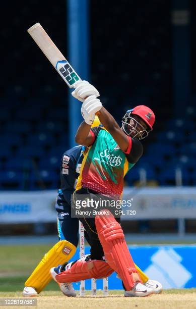 Evin Lewis of St Kitts & Nevis Patriots hits 6 during the Hero Caribbean Premier League match 11 between St Kitts & Nevis Patriots and Barbados...
