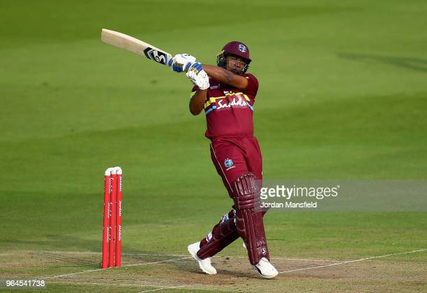 Evin Lewis of the West Indies bats during the T20 match between ICC World XI and West Indies at Lord's Cricket Ground on May 31 2018 in London England
