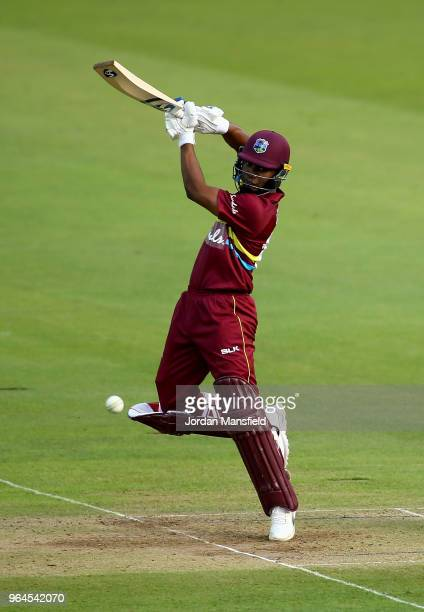 Evin Lewis of the West Indies bats during the T20 match between ICC World XI and West Indies at Lord's Cricket Ground on May 31, 2018 in London,...