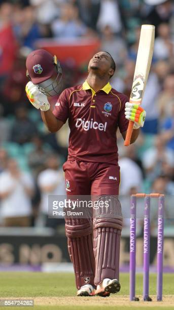 Evin Lewis of the West Indies celebrates reaching his century during the 4th Royal London one-day international cricket match between England and the...