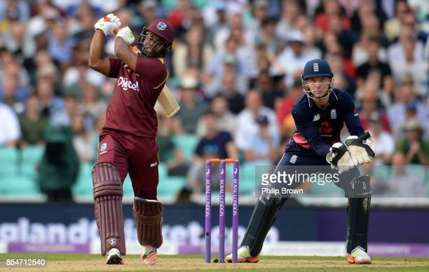 Evin Lewis of the West Indies hits a six during the 4th Royal London oneday international cricket match between England and the West Indies at the...