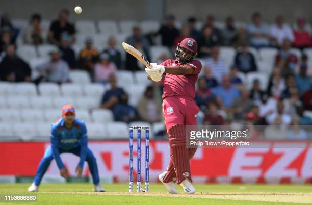 Evin Lewis of the West Indies hits a six during the ICC Cricket World Cup Group Match between Afghanistan and the West Indies at the Headingley on...