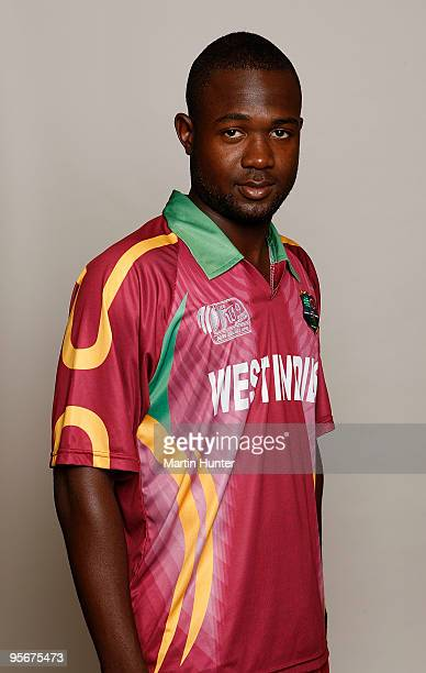 Evin Lewis of the West Indies poses for a portrait ahead of the ICC U19 Cricket World Cup at Crowne Plaza on January 10, 2010 in Christchurch, New...