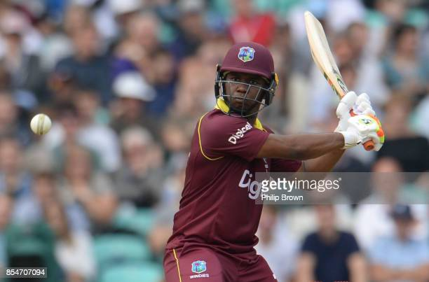 Evin Lewis of the West Indies prepares to hit the ball during the 4th Royal London one-day international cricket match between England and the West...