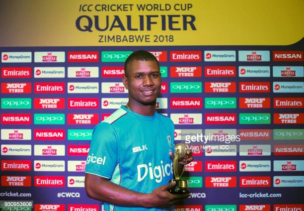 Evin Lewis of The West Indies with The Man of The Match award after The ICC Cricket World Cup Qualifier between The West Indies and The Netherlands...