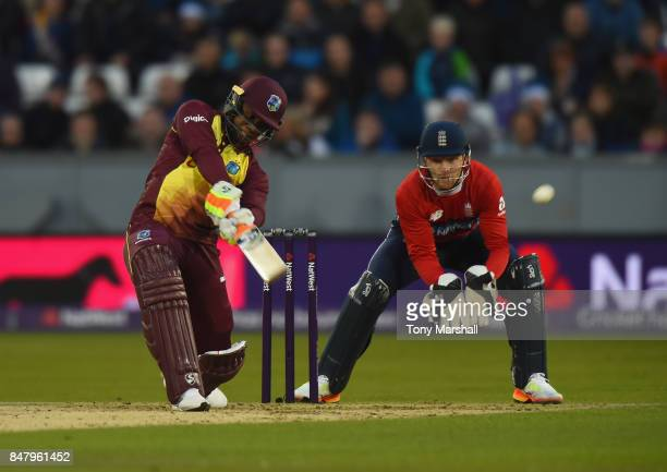 Evin Lewis of West Indies bats during the 1st NatWest T20 International between England and West Indies at Emirates Durham ICG on September 16 2017...