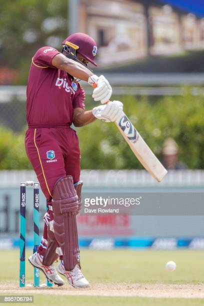 Evin Lewis of West Indies bats during the first match in the One Day International series between New Zealand and the West Indies at Cobham Oval on...