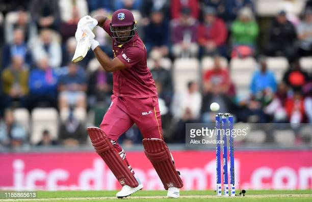 Evin Lewis of West Indies bats during the Group Stage match of the ICC Cricket World Cup 2019 between England and West Indies at The Hampshire Bowl...