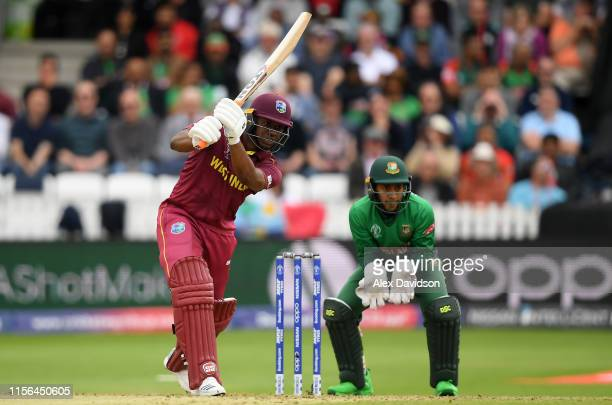 Evin Lewis of West Indies bats during the Group Stage match of the ICC Cricket World Cup 2019 between West Indies and Bangladesh at The County Ground...